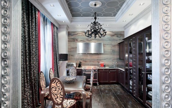 Glamour Apartment Design In Black and Red Tones.