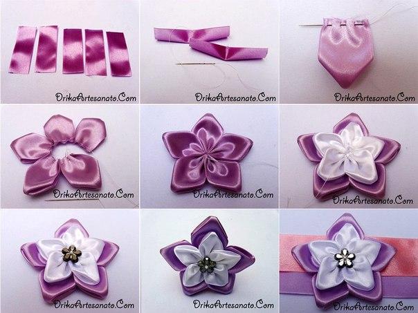 Как сделать цветы из лент атласных своими руками